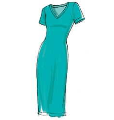 McCall's M6886, Misses' Dresses (v-neck, scoop and crew; sleeveless, short sleeved or long). Great all purpose t-shirt fitted dress.