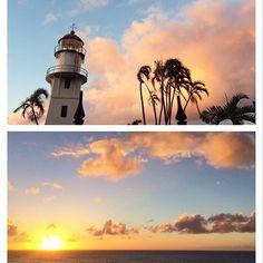 【malaki_poalima】さんのInstagramをピンしています。 《Woke up too early😅 Took a walk in the fresh morning air🚶🏽before breakfast 🌄  今朝は4時半に目が覚めてしまい、二度寝は無理そうなので散歩しながら日の出を見に海まで🌄 やっぱり早起きも気持ちがいい😊 サーファーガールだった頃を思い出しました😆 #sunrise#morningsky#morningwalk #lighthouse#sky#ocean#hawaii#日の出#イマソラ#空#海#灯台#早起き#散歩#ハワイ》