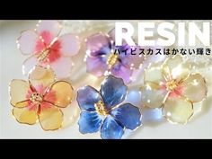 🌹【UVレジン】ハイビスカスの模様を作る1日限定の美しさ/Hibiscus made with wire Diy Resin Crafts, Wire Crafts, Uv Resin, Resin Art, Polymer Clay Jewelry, Resin Jewelry, Jewlery, Hibiscus, Wire Flowers