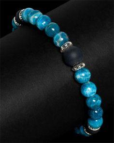 Scott Kay Men's 'Beads' Silver Apatite & Onyx Bracelet @Reis-Nichols Jewelers @Scott Kay #timbanderson
