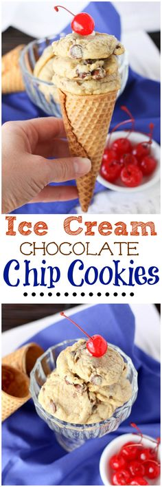 Ice Cream Chocolate Chip Cookies! ....vanilla ice cream in the dough makes the softest most delicious cookie! #cookies #baking #chocolate #icecream