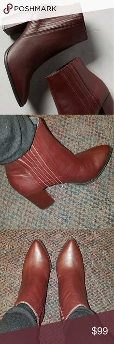 Seychelles accordian burgundy boots 7.5 Bought from Anthropologie. Worn once. Bought several of these Seychelles booties when I got so into them, but rarely wear these and wear more of my cheaper brands. In excellent condition. True to size. leather Upper, insole. 3.5 inch heel. Anthropologie Shoes Ankle Boots & Booties