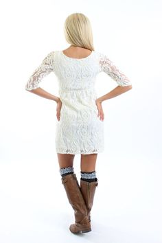 Modern Vintage Boutique - Ivory Whimsical Lace Dress CLEARANCE, $34.00