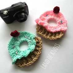 A personal favorite from my Etsy shop https://www.etsy.com/listing/277442778/cupcake-camera-lens-buddy-crochet-camera