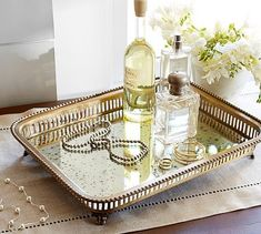 Great for the coffee table. Victorian Antique Mirror Footed Tray #potterybarn