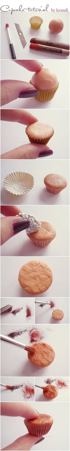 Cupcake tutorial: polymer clay by Kyandi-charms on deviantART