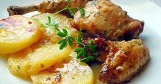 Pollo con patatas al cava