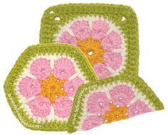 Cómo tejer una flor africana o african flower a crochet en forma de hexágono, cuadrado o granny square y medio hexágono!