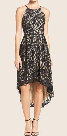 c308146e716 Halter O Neck High Low Cocktail Dress Black Lace Formal Gown  macloth   lacedress