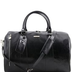 Leather Luggage Weekender Duffles bags TL Voyager Travel leather duffle bag  - Small size Black TL141216 6044c769c30c3
