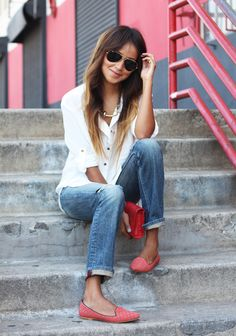 Crisp white shirt, denim, and loafers never go out of style.