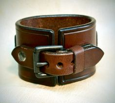 Leather cuff Watch Vintage Brown bridle leather wristband