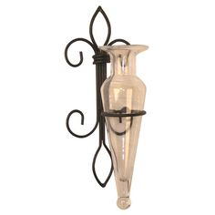 Found it at Wayfair - Fleur Clear Vase Wall Sconce in Black