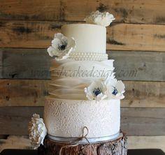 Lace and Ruffle Wedding Cake