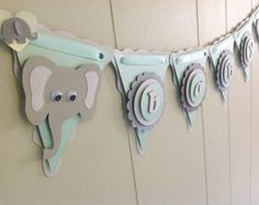 baby shower with grey and mint | Elephant Baby Shower Decoration. El ephant Baby Banner. Mint and Gray ..