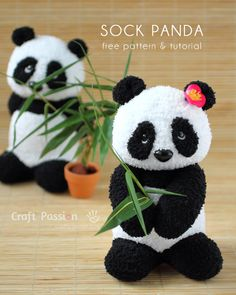 Eu Amo Artesanato: Ursinho Panda com molde e passo a passo