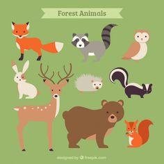 手描き森林動物コレクション 無料ベクター