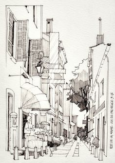 coloring pages - Join buildyful com the global place for architecture students ~~JR Sketches Luberon, France 2013 1 Set 2013 Today Pin Urban Sketching, Sketches, Art Drawings, Drawings, Design Sketch, City Sketch, Sketch Painting, Architectural Sketch, Art