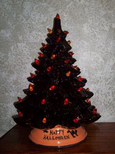 black ceramic happy halloween tree lighted by ragdoll722 on etsy 8995 - Black Halloween Tree