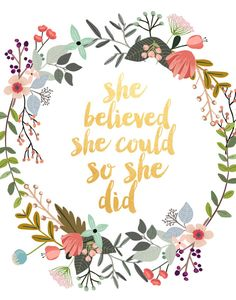 She Believed She Could So She Did Motivational by PaperStormPrints
