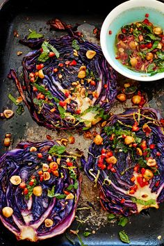 Roasted Cabbage Steaks With Hazelnut Dressing This easy recipe for roasted cabbage steaks makes a subtly sweet and zesty low calorie vegetarian main for four. Keep any left-over cabbage and make our pickled red cabbage on Asian chicken burgers or spice it Whole Food Recipes, Cooking Recipes, Healthy Recipes, Low Calorie Vegetarian Recipes, Pasta Recipes, Bread Recipes, Keto Recipes, Vegetarian Roast Dinner, Vegetarian Steak