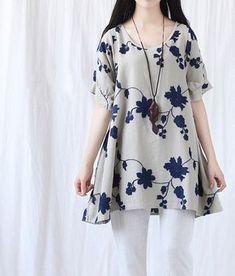 Summer loose fitting Long Shirt Women Short Sleeved by MaLieb Stylish Dresses, Simple Dresses, Casual Dresses, Casual Outfits, Fashion Dresses, Girl Fashion, Summer Dresses, Kurta Designs, Blouse Designs