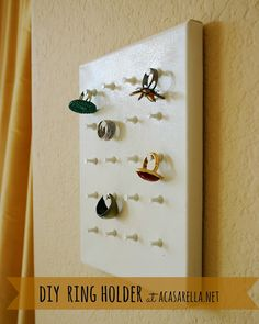 DIY Ring Holder - if you do not display all your jewelery, you dont wear it when you dont see it