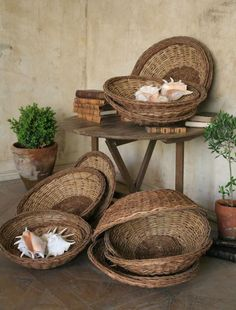 Vintage willow baskets in shallow round shape; would use as wall decor.