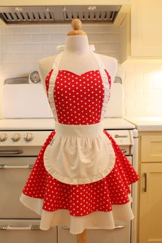 OH lord. I like this one just as much! Apron French Maid Red and White Polka Dot with White by Boojiboo, $38.75