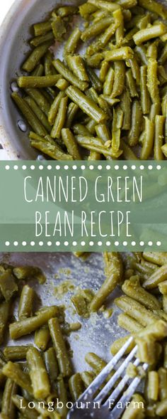 Easy Canned Green Beans This canned green bean recipe is an easy and delicious way to use those green beans in your pantry! A few ingredients make a veggie the family will love! Seasoned Green Beans, Crockpot Green Beans, Can Green Beans, Cooking Green Beans, Side Dishes Green Beans, Southern Green Beans, Healthy Green Beans, Side Dish Recipes, Veggie Recipes
