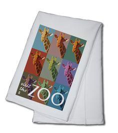 Giraffe - Pop Art - Visit the Zoo - Lantern Press Artwork