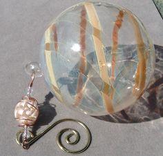 Hand Blown Glass Globe Ornament with Champagne by AspenHotGlass, $25.00