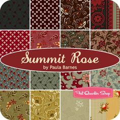 Summit Rose Fat Quarter Bundle Paula Barnes for Marcus Brothers Fabrics