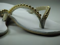 Wedding Sandals, Bridal Sandals, Bridesmaid ,Boho Wedding Sandals, Wedding Flip Flops, Bridal Flip Flops, Bridesmaids Flip Flops, White Gold  Steal the show and shine with ... #clothing #shoes #women