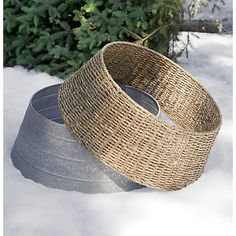Galvanized Tree Base With Wicker Cover CB