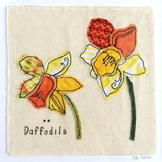 Daffodils framed textile art embroidery fabric applique