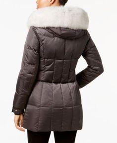 1 Madison Expedition Fox-Fur-Trim Hooded Puffer Coat - Black XXL