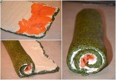 Rolada szpinakowa z wędzonym łososiem