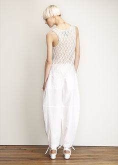 Sheer white top with self pattern, MM6 Maison Martin Margiela Pull On Oversized Pant (White)