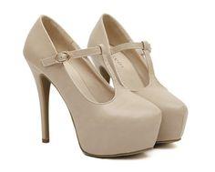 Elegant Apricot Colored High Heel Fashion Shoes