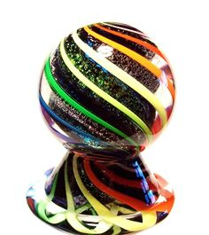 """EDDIE SEESE GLASS 1-3/4"""" SOLID DICHROIC LOBED CORE RAINBOW MARBLE & STAND"""