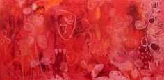 "Daily Painters Abstract Gallery: Contemporary Abstract Mixed Media RED Painting ""Red Emperor #3"" by Santa Fe Artist Annie O'Brien Gonzales"