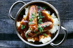 One of the favourite family dishes in Britain has to be Bangers and Mash, a wholesome meal especially when served with rich onion gravy.