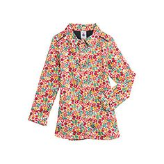 Petit Bateau US Official Online Store, Girl's long-sleeved blouse in flower print cotton satin, coquille multico, Girl : Daywear, 34243