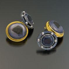 Sapphire, gold, silver and platinum cufflinks.