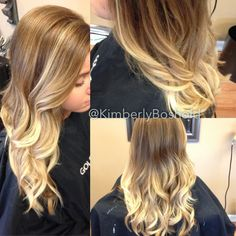 Honey base color with balayage highlights that melt into bright blonde ombre. #hairbykimberlyboshold
