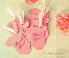Set of 10 x Baby Girl Shower Guest Favor Tags  by DidiLandCrafts
