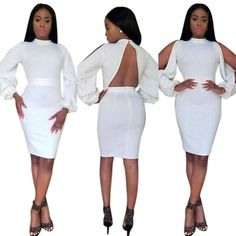 Women Fashion Long Sleeve Backless White Bodycon Dress Clubwear Casual Summer