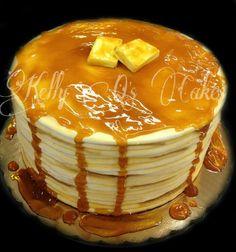 Pancake birthday cake, amazing cake, realistic cake, 3d cakes. https://www.facebook.com/ KellyQLovesCake