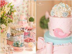 festa passarinhos azul e rosa provençal - Pesquisa Google